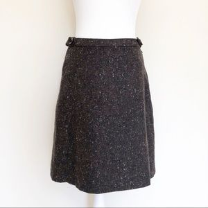 H&M Brown Wool Tweed A-Line Skirt, Fully Lined